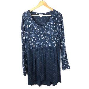 J Jill Tunic Top Blouse Blue Floral Medium Tall